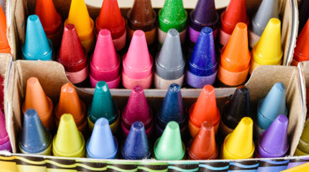 Beautiful crayons in a box; Shutterstock ID 379093876
