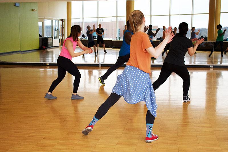 Group of women doing dance based exercise